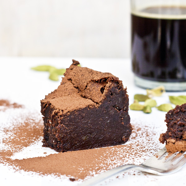 cardamom and espresso chocolate truffle cake