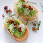 Sweet Pea Crostini with Crispy Pancetta
