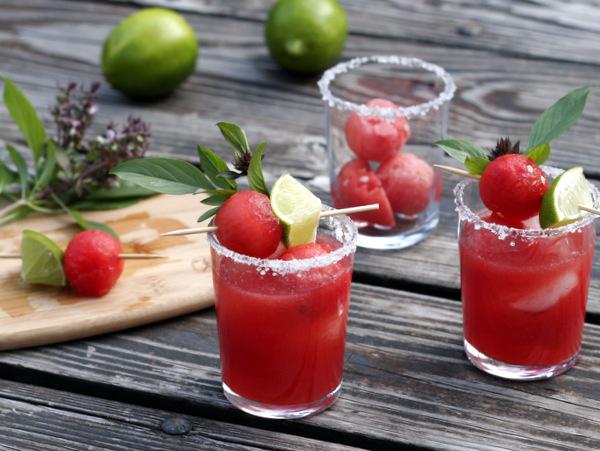 Thai Basil Watermelon Margaritas