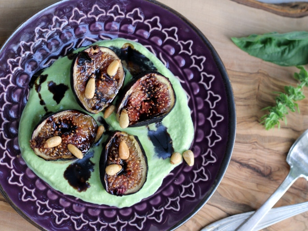 Roasted Figs Basil Cream and Balsamic Glaze Bob Vivant