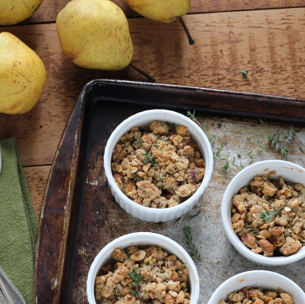 gluten free honey pear crisp with hazelnuts and thyme