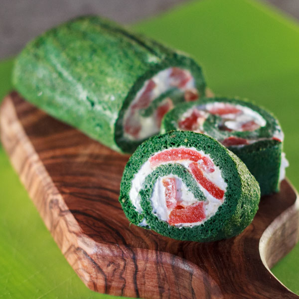 Spinach Roulade with Feta and  Roasted Red Peppers
